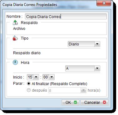 Programación horaria de realización de los backup online