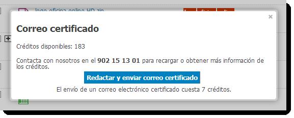 Envío de correos certificados des de la plataforma.